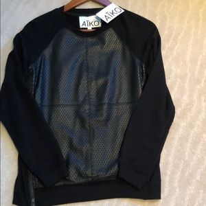 AIKO LEATHER FRONT LONG SLEEVE TOP SMALL NWT